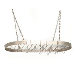 "36"" x 18"" Satin Nickel Oval Pot Rack w/12 Hooks - Oval Hanging Pot Rack.  Includes grid, 12 hanging hooks, chains & mounting hardware. Made of sturdy steel, the Satin Nickel Finish is lacquered for easy maintenance."