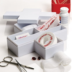 First Aid Cross Storage Box in White - Ultra durable and easy to clean, this first aid storage box keeps your minor-mishap necessities organized and within easy grasp. While the contents aren't included, there's enough space for all your minor scrapes, cuts, headaches, and more.