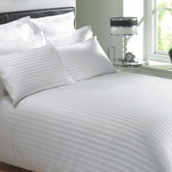SCALA - 400TC Stripe White Twin Flat Sheet & 2 Pillowcases - Redefine your everyday elegance with these luxuriously super soft Flat Sheet . This is 100% Egyptian Cotton Superior quality Flat Sheet that are truly worthy of a classy and elegant look.