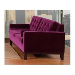 Armen Living - Centennial Purple Button-Tufted Loveseat w Cylinder Arm Bolsters - Transitional design. Button back. Sleek low back look adds a contemporary flare. Velvet upholstery. 68 in. L x 36 in. W x 34 in. H (88 lbs.)