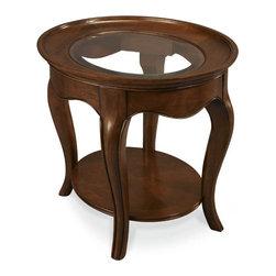 Hammary - Hammary Cherry Grove Oval End Table w/ Glass Top in Mid Brown - Hammary Cherry Grove Oval End Table w/ Glass Top in Mid Brown