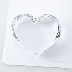Heart Paperweight - Want only a little touch of glam in your home? This glass heart paperweight is just right. I would love to see it stacked atop a pile of favorite books.