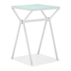 Zuo Modern - Xert Counter Table White - Relax and sip on a martini with our Xert bar series. Table has a painted glass top on a sturdy steel base. Perfect for entertaining in style.