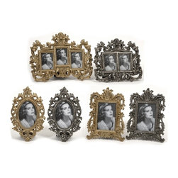 "IMAX CORPORATION - Hallet Frames - Set of 6 - These modern cast frames inspired by antique pewter photo frames, are a beautiful addition to a buffet or curio cabinet. Set of 6 frames in varying sizes measuring approximately 9-9-9-10-11.5""H x 10-12-12-13-7-7-""W x 1-1-1-1-1.25-1.25"" each. Shop home furnishings, decor, and accessories from Posh Urban Furnishings. Beautiful, stylish furniture and decor that will brighten your home instantly. Shop modern, traditional, vintage, and world designs."