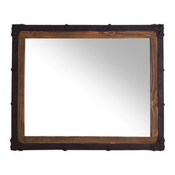New Rustics - New Rustics Rustic Industrial Rectangular Mirror in Brown Patina - The recycled pine wood, marked by its previous life as a shipping pallet, and the hammered metal accents, Finished in a rustic patina, make this collection look like it came straight from the warehouse. Each piece is handcrafted to be sturdy, but not too heavy.