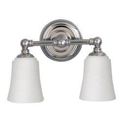 Murray Feiss - Murray Feiss Huguenot Lake Bathroom Lighting Fixture in Polished Nickel - Shown in picture: Huguenot Lake Vanity Strip in Polished Nickel finish with Opal etched glass shades
