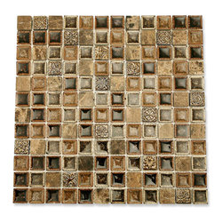 """GlassTileStore - Roman Collection Chamoisee 1x1 Glass Tile - Roman Collection Chamoisee 1x1 Glass Tile          These gorgeous mosaics are hand pressed and hand filled. Each glass chip are hand pressed and then filled with colored crushed glass chips tocreate an intensely faceted surface that capture and reflects light, making it look like thousand tiny diamonds. Great to use as a back splash, or any decorated spot in your home.         Chip Size: 1x1   Color: Dark Brown, Cream, Light and Dark Emperidor, Bronze Decos   Material: Stone and Porcelain Shell Filled with Crushed Glass, Metal Decos   Finish: Polished   Sold by the Sheet - each sheet measures 12""""x12x (1 sq. ft.)   Thickness: 8mm   Please note each lot will vary from the next.            - Glass Tile -"""