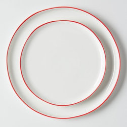 Vermelho Dinner Plate - The colored perimeter along these pretty white plates is a simple way to incorporate red in the kitchen.