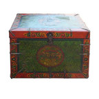 Golden Lotus - Tibetan Green Red Fu Dog Head Wooden Trunk - This is a Tibetan style wooden trunk with iron nail hardware around the edge. It can be a decorative storage piece or as a side table.