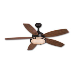 AireRyder - Taliesin 52 in. Energy Star Ceiling Fan in Oil Burnished Bronze - 52 in. W x 52 in. D x 32.5 in. H. Blade Finish: Walnut. Blade Span: 52 in.. Blade Pitch: 12 Degrees. Motor Size: 153x17. Downrod Size: 6 in.. Number of Blades: 5. RPM (Hi/Med/Low): 173/110/68. Mounting Method: Triple Mount. Downrod Diameter: 3/4 in.. Lead Wire: 78 in.. Fan Speed & Light On/Off Remote Control Included. Integrated Flourescent Fan Light. 4,292 CFM; 58 Watts; 74 CFM/Watt. Downrod Diameter: 3/4 in.. Lead Wire: 78 in.. Number of Bulbs: 1. Bulb Wattage: 55 WATT. Bulb Type: G10Q. 52 in. W x 52 in. D x 32.5 in. H