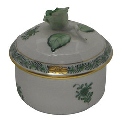Herend - Herend Chinese Bouquet Green Sugar Bowl & Lid - Herend Chinese Bouquet Green Sugar Bowl & Lid