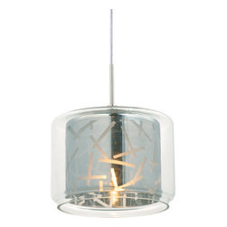 ET2 - ET2 EP96087 Confetti Collection RapidJack 1 Light Jar Shade Mini Pendant - Bulb - ET2 EP96087 RapidJack One Light Jar Shade Mini Pendant from the Confetti Collection Collection - Bulb IncludedFeaturing an artistically etched diffuser inside a mason jar style shade, the Confetti Collection single light RapidJack pendant makes for a beautiful addition to your compatible canopy (sold separately).ET2 EP96087 Specifications: