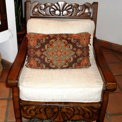 Custom Furniture - Carved Hacienda Style Alder Armchair with hand carving and distressing.