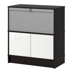 IKEA of Sweden - EFFEKTIV Storage combination - Storage combination, black-brown, high gloss white