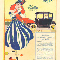 Stomping Grounds - Baker R & L Electric Car Company Advertisement - This antique automobile ad for electric cars was discovered in a 1915 issue of LIFE. We love its bold vintage colors.