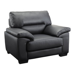 """Coaster - Juniper Black Leather Chair - High split back cushions and generously padded arms are designed with high resilience foam to bring you that sink-in comfort while retaining the support for every movie marathon and game night. Covered in top quality man-made leather for durability and everyday use. Collection: Juniper; Style: Casual; Finish/Color: Black; Upholstery: Leather; Man-made leather; Sinuous Spring base; Seat Cushions: attached; Back Cushions: Removable; Dimensions: 44.00""""L x 34.00""""W x 36.50""""H; Seat Height: 17.00"""", Seat Depth: 19.00"""""""