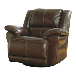 Signature Design by Ashley - Lenoris Swivel Glider Recliner in Coffee - Indulge yourself in the relaxing comfort of this Lenoris Swivel Glider Recliner by Ashley. It will envelop you in the luxury of its brown top-grain leather match upholstery that features 100% leather in the seating areas with vinyl match everywhere else. In addition to rocking, reclining, this chair offers swivel with full 360 degree rotation. A plush bustle back and shaped pillow arms feature accent stitching for contemporary style and comfort combined.