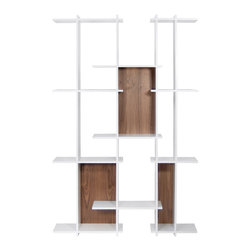 Temahome - Puzzle Shelving Unit, Walnut - This architecturally-inspired unit is constructed as if it was a puzzle, with its interesting combination of vertical and horizontal elements. Having the pure white shade as a basis, this model offer different color combinations; the perfect way to introduce a splash of colour into an interior. As an extra feature, this shelving unit can be installed vertically or horizontally, ideal to adapt to every space of the house