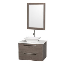 Wyndham Collection - Amare Bathroom Vanity in Grey Oak, White Stone Top,White Porcelain Sink - Modern clean lines and a truly elegant design aesthetic meet affordability in the Wyndham Collection� Amare Vanity. Available with green glass , acrylic resin or pure white man-made stone counters, and featuring soft close door hinges and drawer glides, you'll never hear a noisy door again! Meticulously finished with brushed Chrome hardware, the attention to detail on this elegant contemporary vanity is unrivalled.