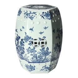 Handmade Tree Motif Ceramic Garden Stool - This blue and white garden stool has a lovely shape and design.