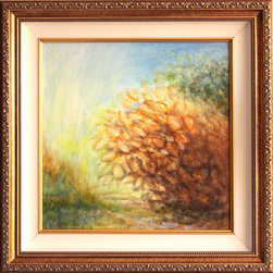 "Gwen Duda Studios - Gold Impressionistic Landscape Original Acrylic Painting Framed - Out on a clear day's walk you come across points such as this where the sun is illuminating early fall golden leaves on a tree near the pathway. It's absolutely stunning but we walk by soon enough and it is forgotten in the next moment. Unless, however, it is captured in a painting such as this. Beautifully framed (approx. 14.5"" x 14.5"") this original acrylic on canvas painting will beautifully illuminate any space it inhabits."