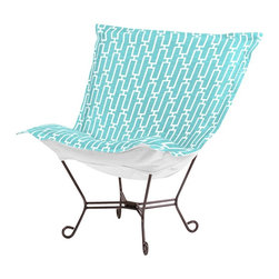 Howard Elliott - Bahama Breeze Scroll Puff Chair - Mahogany Frame - Taking it to the Backyard! Now you can take your favorite chair outside with you. The Bahamas Patio Puff Chair has been designed to withstand the elements with Its special fabric cover and foam insert. The fun, bright color selection of the Bahamas Patio Puff Chair will fill your yard with the colors of summer.