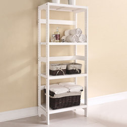 """Acme Furniture - Meera 3-Tier Shelf Rack in White - Meera 3-Tier Shelf Rack in White; Finish: White; Materials: Solid Pine Wood; Weight: 28.6 lbs; Dimensions: 23"""" x 14"""" x 58""""H"""