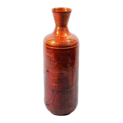 Lacquer Bamboo Vase - SKU: EN30481 - Bright orange Lacquer bamboo vase with antique Bittersweet with indented lines.
