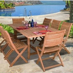 International Home Miami - Amazonia Teak  9 Piece Dining Set - Great quality, elegant design patio set. Enjoy your patio with style with these great sets from our Amazonia Teak outdoor collection. Free Feron's Wood Sealer/Preservative for longest durability. Penetrating oil that works great against the effects of air pollution salt air, and mildew growth. For best protection, perform this maintenance every season or as often as desired. Features: -Material: 100% high quality teak wood.-Classically slatted design.-Subtly contour for comfortable seating.-Made of eco-friendly, renewable sources.-Set includes one rectangular extendable table and 8 folding chairs.-Distressed: No.-Country of Manufacture: Indonesia.Dimensions: -Table: 29'' H x 67-87'' W x 39'' D.-Chair: 35'' H x 20'' W x 20'' D.Assembly: -Assembly required.Warranty: -Product Warranty: 1 Year.