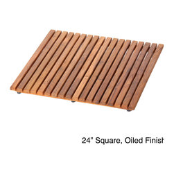 None - Le Spa Hand-sanded Teak Floor Mat - Hand-sanded teak wood makes up this beautiful floor mat. Available in natural or oiled finishes,this rich brown mat features a corrosion-resistant construction and non-slip rubber knobs on the bottom for safety.