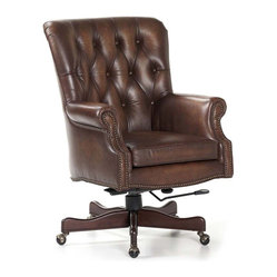 Randall Allan - Merchant Swivel Tilt - Roll like a Rockefeller on this classic desk chair. It's covered in high quality chocolate leather, featuring a button-tufted back, nailhead trim and five rock-solid feet on casters. But it's not just about old money elegance; it's adjustable so you can get modern comfort.