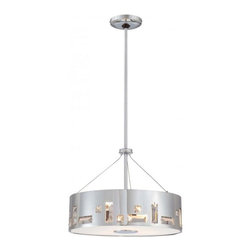 "Steel Chrome Drum Shade Contemporary Pendant Lighting Medium - Steel Chrome Drum Shade Contemporary Pendant Lighting Medium. Steel pendant lamp,metal frame in chrome with clear crystals for decorations,adjustable metal rods in chrome with max length of 42""(1*6""+3*12""),grosted glass diffuser at the bottom with metal parts in chrome for details. round canopy in chrome. E27,max.3*60W"
