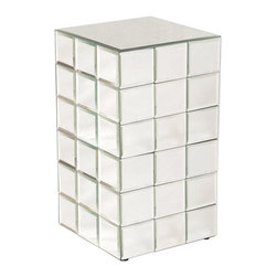 Howard Elliott - Howard Elliott Antares Medium Mirrored Puzzle Cube Pedestal - A tall pedestal fashioned by a grid of square beveled mirror panels reminiscent of a puzzle cube.