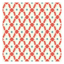 Red Diamond Dot Ikat Cotton Fabric - Diamond trellis with a twist of contemporary ikat-like heathering. A modern accent in cherry red & aqua blue.Recover your chair. Upholster a wall. Create a framed piece of art. Sew your own home accent. Whatever your decorating project, Loom's gorgeous, designer fabrics by the yard are up to the challenge!