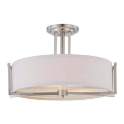 Nuvo - 3 Light - Semi Flush - Fixture - Slate Gray Fabric Shade - Slate Gray Fabric Shade Shade. UL Damp Rated. Incandescent . Color/Finish: Brushed Nickel. Max wattage: 60w. Bulb(s) not included. 18.375 in. W x 12.25 in. H