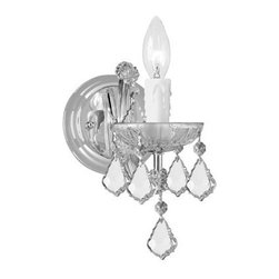 Crystorama - Crystorama 4471-CH-CL-MWP Maria Theresa 1 Light Wall Sconces in Polished Chrome - There's undeniable magic when light meets crystal or glass. It sparks the same fire one sees when light meets precious and semi-precious stones. Great lighting often takes styling cues from jewelry as well, with its primary use of gold and silver tones. Just like an outfit isn't complete without the perfect necklace, bracelet or earrings, a room isn't complete until it has lighting that adds the WOW factor when you walk in.