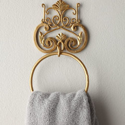 Horchow - Scroll Towel Ring - The perfect finishing touch for the bathroom, these hanging accessories are handcrafted of iron and tole with a hand-painted antiqued golden finish. All have two screw holes for mounting except the towel bar, which has four. Hardware not included. Impor...