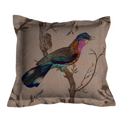 ecofirstart - Bluebird Cushion - The contrast of the vibrant bluebird against the neutrally toned branches and ecofriendly linen makes this textile simply breathtaking. With a larger bird on the front and a more petite bluebird on the back, this charming pillow is full of pleasant surprises that you'll adore.