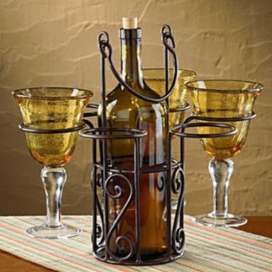 Elegant Tabletop Wine Bottle and Glass Holder, Holds 6 Glasses, Wine Accessory - Our elegant metal Wine Bottle and Glass Holder displays your wine with style.
