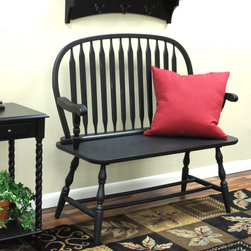 None - Winston Antique Black Bench - Ideal for use in an entryway, this classic black bench is an excellent place for putting on shoes or talking on the phone. It has an antique finish for added style, and the classic Windsor design will coordinate with a variety of furnishings.