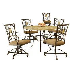 Hillsdale Furniture - Hillsdale Brookside 5-Piece Round Dining Room Set with Oval Back Caster Chairs - Our Brookside dining collection features the lustrous depth and beauty of fossil stone and the classic effect of transitional designs. A thick patterned ivory colored fossil stone veneer graces the sturdy  metal bases on the dining table, bistro table and buffet. The caster chairs have a traditionally scrolled design which boasts an oval fossil stone motif and micro suede seat fabric for easy care and long lasting beauty.