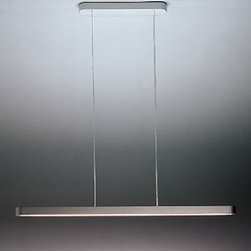 """Artemide - Talo pendant light - Catalog Specific - Product Details:   The Talo pendant light from Artemide has been designed by Neil Poulton. This cable suspension mounted luminaire is great for indirect and direct fluorescent lighting. The Talo is composed of a body with profiles in extruded aluminum (available in white or silver grey finish) and end caps in die cast aluminum. The upper diffuser is constructed of clear molded polycarbonate with the lower diffuser in opaline molded polycarbonate. The ceiling canopy is made of steel with cover in molded thermoplastic and suspension supporting/feeding cables with clear teflon coating. This pendant light comes available in five different lengths: 36""""(90cm), 48""""(120cm), 60""""(150cm), 71""""(180cm) and 95""""(240cm).  This light also comes equipped with thermally protected, class P, high power factor 120V electronic ballast. The Talo pendant light exhibits a sleek and industrial design, along with quality craftsmanship, that is sure to brilliantly illuminate any contemporary setting. Silver Grey finish. UL listed.  Details:                                Manufacturer:               Artemide                                  Designer:                            Neil Poulton                                                Made in:              Italy                                  Dimensions:                             90cm: Height: max 63"""" (160 cm) X Width: 35.75"""" (90 cm)                                         120cm: Height: max 63"""" (160 cm) X Width: 47 3/8"""" (120 cm)                                         150cm: Height: max 63"""" (160 cm) X Width: 60"""" (150 cm)                                         180cm: Height: max 63"""" (160 cm) X Width: 70.75"""" (180 cm)                                         240cm: Height: max 63"""" (160 cm) X Width: 94.5"""" (240 cm)                                                Light bulb:                             90cm: 1 X 39W fluorescent                                         120cm: 1 X 54W fluorescent    """