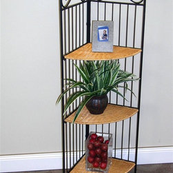 4D Concepts - Wicker Corner Shelf w Iron Frame - The wicker and black metal corner shelving unit is a charming way to solve the dilemma of having empty corner space with no idea what to put there.  At just over three and a half feet high, it provides a wonderful display space for plants, books, or any ornaments you like to see.  Save space with this alluring corner shelf, which stands at over three and a half feet tall.  It easily folds for storage options, yet provides handy display space when open.  Its durable black metal frame is a lovely complement to the earthy wicker shelves. * Metal frame folds open and shelves fold up for storageBlack metal frame, wicker shelves12.2 in. W x  12.2 in. D x 43.3 in. H