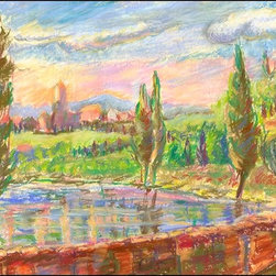 Casart Coverings - Tuscan Spring Wallcoverings, 5 Sq. Ft., Casart Light - This original painting by Katherine Jackson is evidence of where she found artistic opportunity among her many travels. She has captured natural beauty with her use of color and style. Her vintage paintings have been scanned, digitally reproduced, and are true to the originals, and serve as tribute to her talent. This product shows a colorful Tuscan day with trees and mountains in the background.