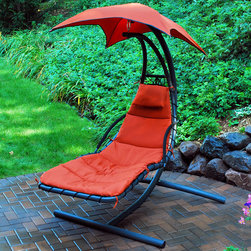 Algoma Cloud 9 Hanging Chaise Lounger - This beautifully designed hanging chaise lounge is sure to make a statement on your patio, porch, deck, or indoor sunroom! The heavy duty steel stand is perfectly balanced to give you a floating on air experience, while being sturdy and durable. The removable pad and pillow, mount on mesh fabric allowing for full body comfort. Use the adjustable umbrella to protect you from the sun's rays, or remove it for indoor use. Sure to be the most popular relaxation spot around your home.