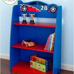 KidKraft Racecar Bookshelf - If your child has a need for speed the he'll love the KidKraft Racecar Bookshelf. Featuring a cool race car on top this sturdy wood bookcase is both practical and whimsical. The back and sides are bright blue and the three fixed shelves are bold red. Slightly tapered in design the bookcase's top is narrow and the base is wide which provides greater stability and fits the slick race car theme. The shelves can hold virtually anything you need them to: books toys trophies and more. The top shelf is ideal for electronics thanks to the opening in the back panel that allows cords to pass through and out of sight. Detailed instructions are included for easy assembly. About KidKraftKidKraft is a leading creator manufacturer and distributor of children's furniture toy gift and room accessory items. KidKraft's headquarters in Dallas Texas serves as the nerve center for the company's design operations and distribution networks. With the company mission emphasizing quality design dependability and competitive pricing KidKraft has consistently experienced double-digit growth. It's a name parents can trust for high-quality safe innovative children's toys and furniture.
