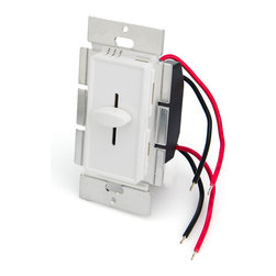 LVDx-100W LED Dimmer for Standard Wall Switch Box - LED dimmer designed to fit in standard wall switch boxes. Universal single color LED dimmer that can dim any 12VDC or 24VDC LED products from 0%-100% using Pulse Width Modulation (PWM) slide control. 100W maximum load capacity. 4.5in wire leads for input and output connection. Dimming level is adjusted by built-in slider control. Available in white and almond housing. Optional wall trim plate also available. For installation in metal junction box, metal mounting plate must be insulated.