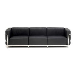 "Serenity Living Stores - Le Corbusier LC3 Style Sofa Italian, Black - The original Le Corbusier Sofa set collection was designed for the prestigious Maison La Roche house in Paris, France in the year 1928. This design is a modernist take on the traditional club chair. This collection varies in a smaller version known as the LC2 and a larger version known as the LC3 which is considered to be more functional for practical living purposes. Exceptional in comfort, Le Corbusier often thought of his pieces as ""cushion baskets."" An intriguing quality of the LC2 is the externalized metal frame which offers support to the base and extends as the legs and runs the entire length of this beautiful piece. The LC2 is not only attractive in a forward facing view- the metal frame work extends into design detail from the sides and back as well allowing for placement in any given area of a room. This is a quality, highly detailed reproduction of the original Le Corbusier LC3 Grand Sofa.                                                Overall Dimensions: 24.4"" H x 93.3"" L x 28.7"" D"