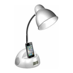 LighTunes - White Desk Lamps: 17 in. White Apple Docking Gooseneck Speaker Lamp with Alarm C - Shop for Lighting & Fans at The Home Depot. This LighTunes Apple docking speaker desk lamp is uniquely designed to pack full sound into a combo speaker lamp. It comes equipped with a white base and durable gooseneck design, two high quality speakers, Apple dock to simultaneously play music and charge your iPod or iPhone (not the iPhone 5 or iPods utilizing the lightning connector), a 3.5 mm line-in jack to play music from phones, iPods, MP3 players, and other audio devices that are non-docking such as the iPhone 5, alarm clock, USB port in the back to charge your phones or other devices including the iPhone 5, and an FM radio. You won't find these features or quality in any other brand. This lamp is an absolute must have gadget to complete your bedroom, office, or college dorm. Officially licensed by Apple's MFi (Made for iPod, iPhone) program.