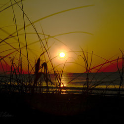 PrintedArt - Sunrise 2 at Myrtle Beach - Print is made with archival pigment inks for best color saturation and contrast with a 75-year guarantee against fading or discoloring. Mounted on light-weight but rigid aluminum dibond board to create a float-on-the-wall piece of art. Also available face-mounted with acrylic.